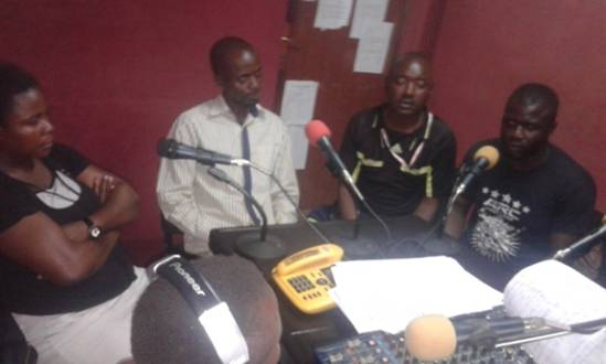 Leaders of Team No Sleep and Team No Joke, the two rival political camps in the recent elections in Bundibugyo District appear on a joint radio program on UBC Radio. At the height of the conflict, the two rival camps could not see eye to eye and UBC Radio was a no-go zone for one of the camps.