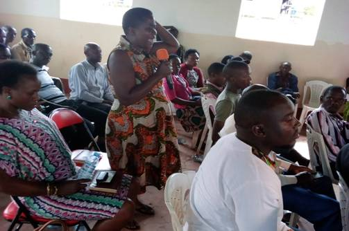 A participant making a passionate plea to the government to drop the proposed amendments to the Land Laws, at the KRC organized debate at Kagote SDA Hall