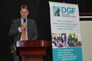 H.E Henk Jan Bakker, the Netherlands Ambassador and Chair of the DGF Board, delivering opening remarks at the launch of DGF's Second Phase, at Silver Springs Hotel, Kampala on 28th March 2018(Photo Credit-DGF)